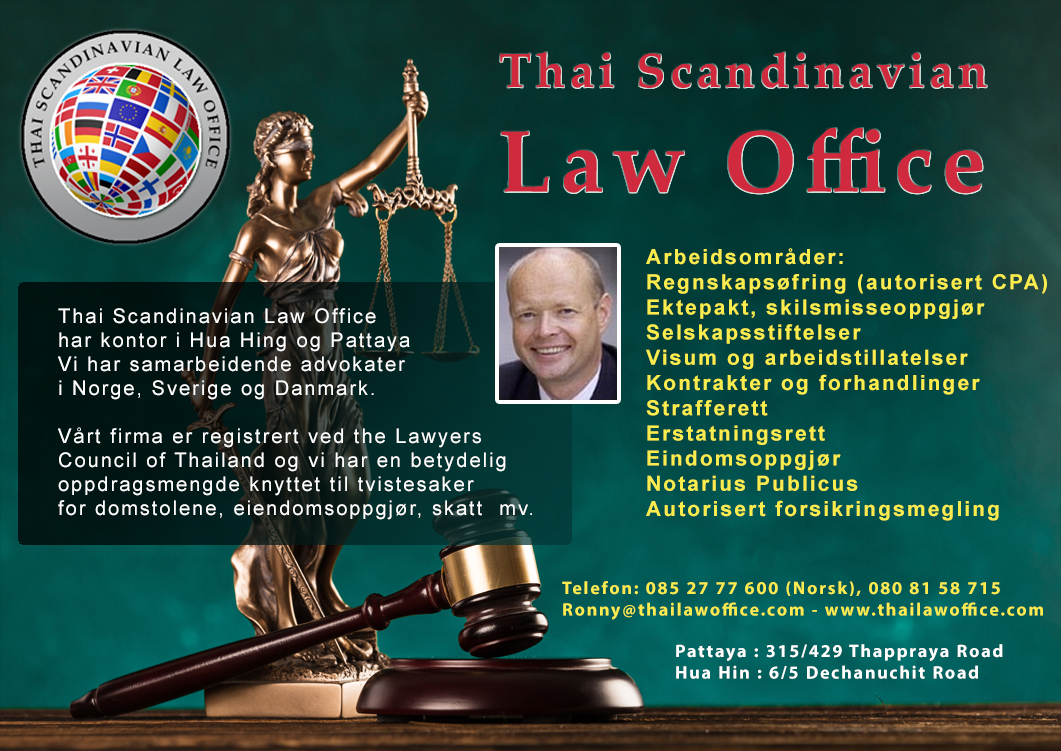 Thai Scandinavian Law Office Co. LTD söker juridisk rådgiver/advokat.