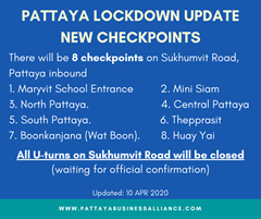 UPDATE! Pattaya City Hall approved new checkpoints on 10 APR 2020.