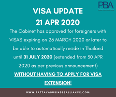 Visa Update 21 April 2020